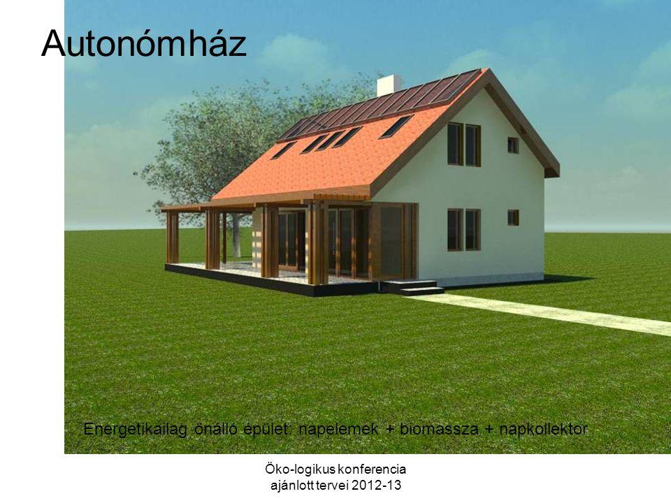 Autonómház Öko-logikus konferencia ajánlott tervei 2012-13 Energetikailag önálló épület: napelemek + biomassza + napkollektor