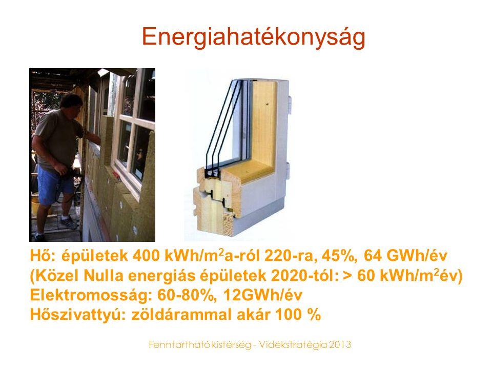 Fenntartható kistérség - Vidékstratégia 2013 Energiahatékonyság Hő: épületek 400 kWh/m 2 a-ról 220-ra, 45%, 64 GWh/év (Közel Nulla energiás épületek 2020-tól: > 60 kWh/m 2 év) Elektromosság: 60-80%, 12GWh/év Hőszivattyú: zöldárammal akár 100 %