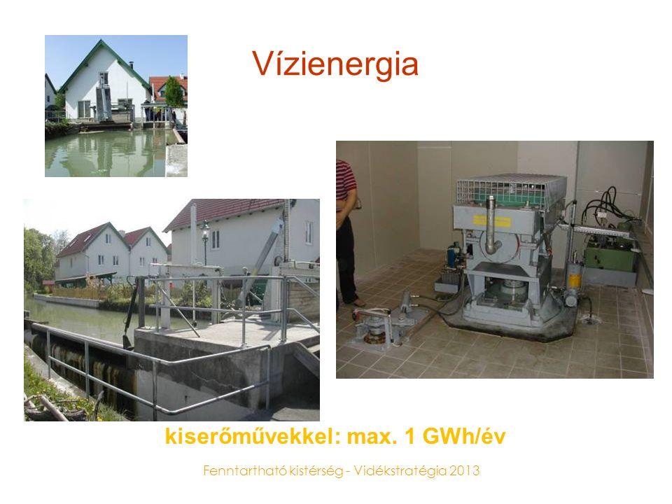 Fenntartható kistérség - Vidékstratégia 2013 Vízienergia kiserőművekkel: max. 1 GWh/év