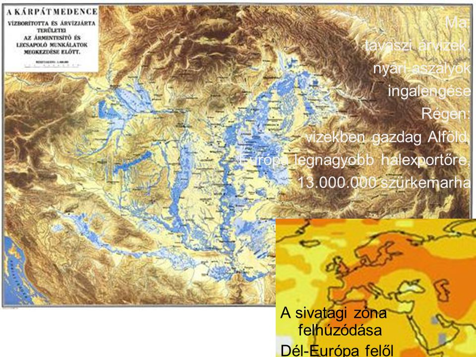 Ma: tavaszi árvizek, nyári aszályok ingalengése Régen: vizekben gazdag Alföld, Európa legnagyobb halexportőre, 13.000.000 szürkemarha A sivatagi zóna