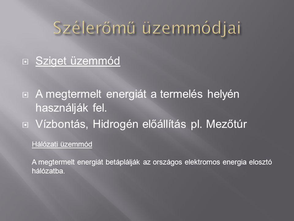  Sziget üzemmód  A megtermelt energiát a termelés helyén használják fel.