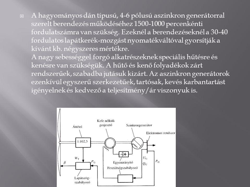  A hagyományos dán típusú, 4-6 pólusú aszinkron generátorral szerelt berendezés működéséhez 1500-1000 percenkénti fordulatszámra van szükség.