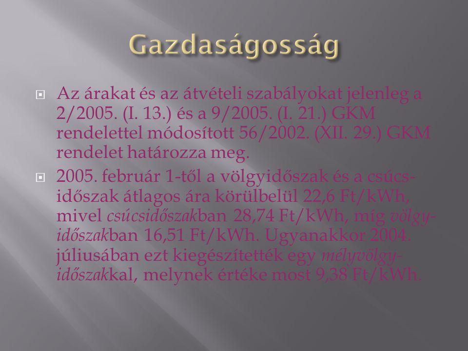  Az árakat és az átvételi szabályokat jelenleg a 2/2005.