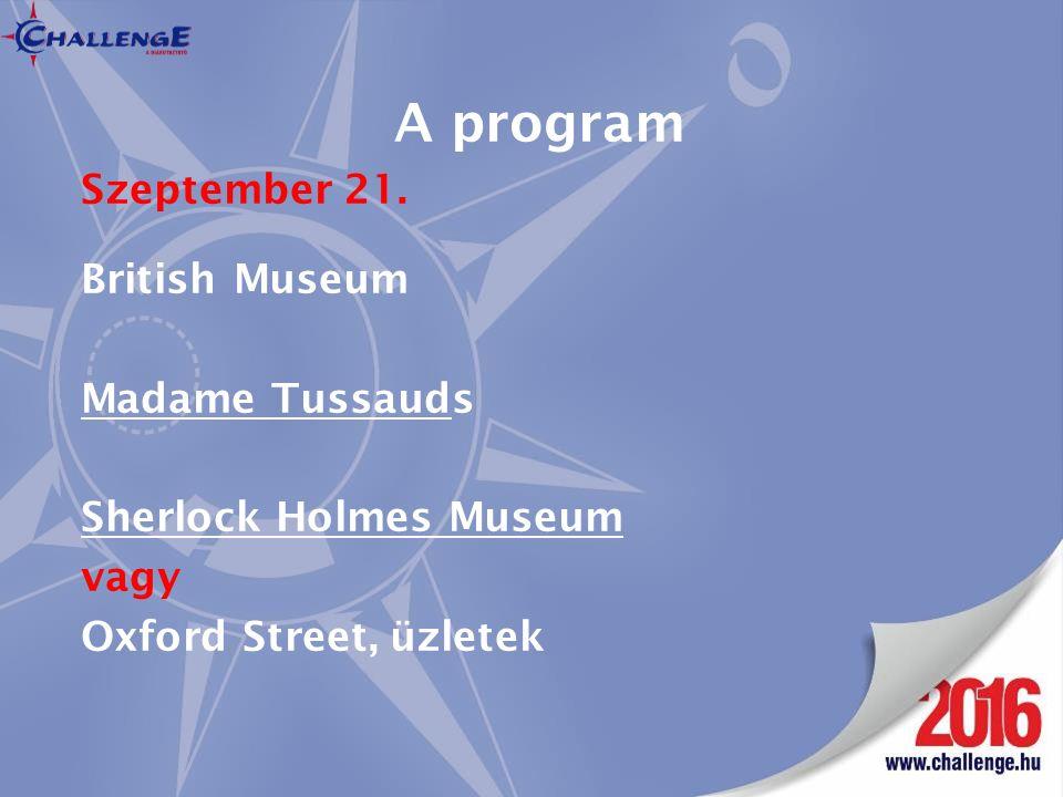 A program Szeptember 21.