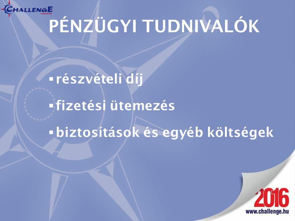 PÉNZÜGYI TUDNIVALÓK  részvételi díj  fizetési ütemezés  biztosítások és egyéb költségek