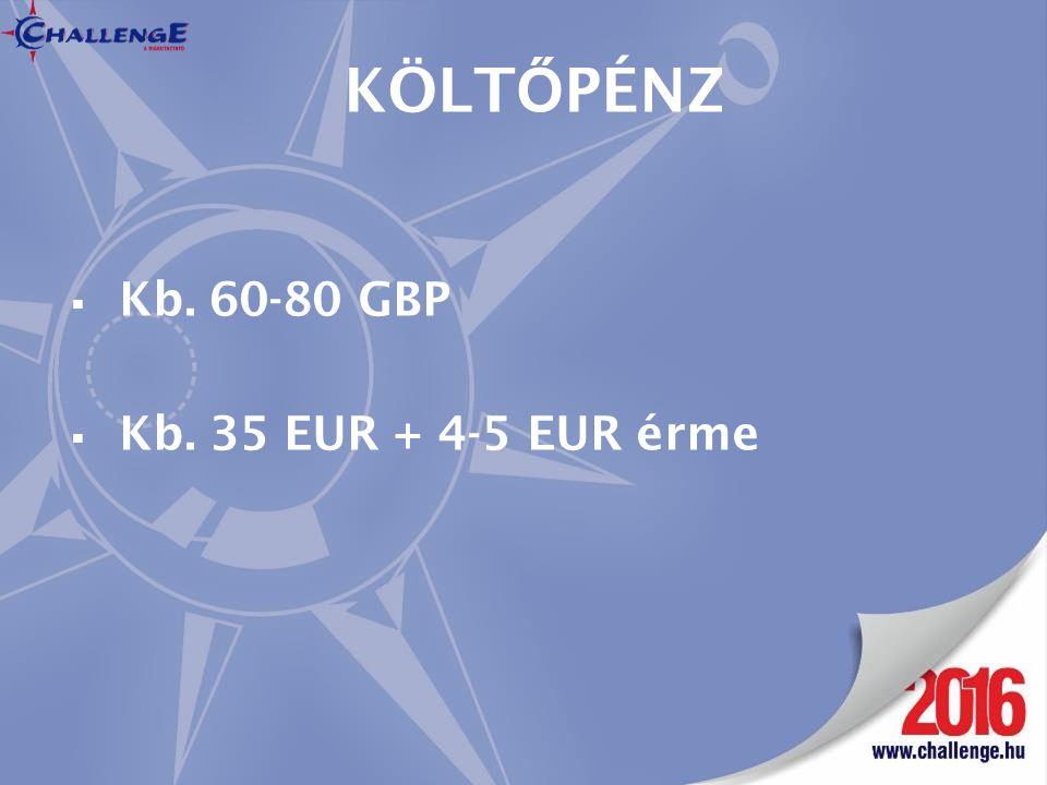KÖLT Ő PÉNZ  Kb. 60-80 GBP  Kb. 35 EUR + 4-5 EUR érme