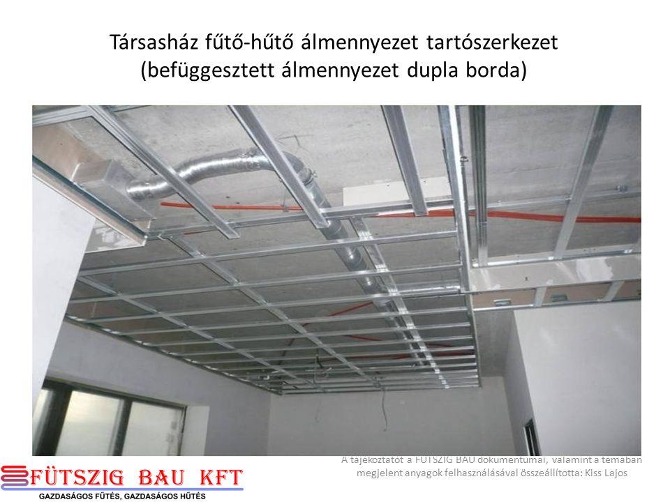 Fűtő-hűtő panel szerkezete hőszigetelés hőtükör cső gipszkarton 40 mm A tájékoztatót a FÜTSZIG BAU dokumentumai, valamint a témában megjelent anyagok felhasználásával összeállította: Kiss Lajos