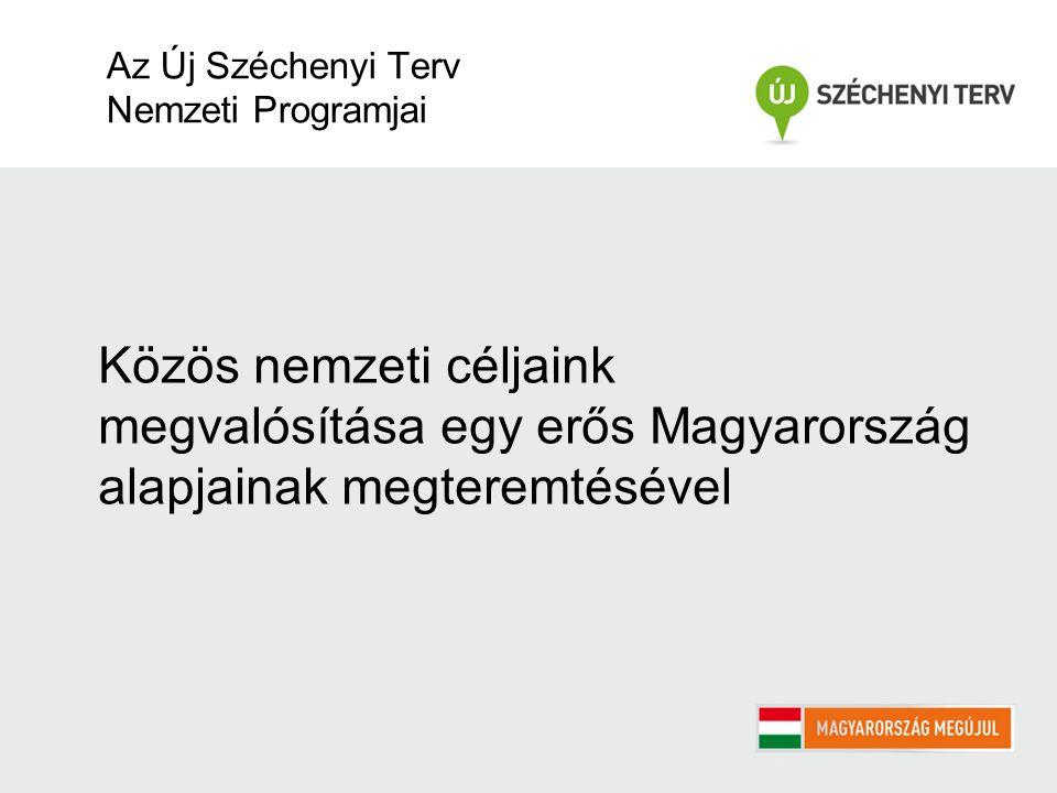 Közös nemzeti céljaink megvalósítása egy erős Magyarország alapjainak megteremtésével Az Új Széchenyi Terv Nemzeti Programjai