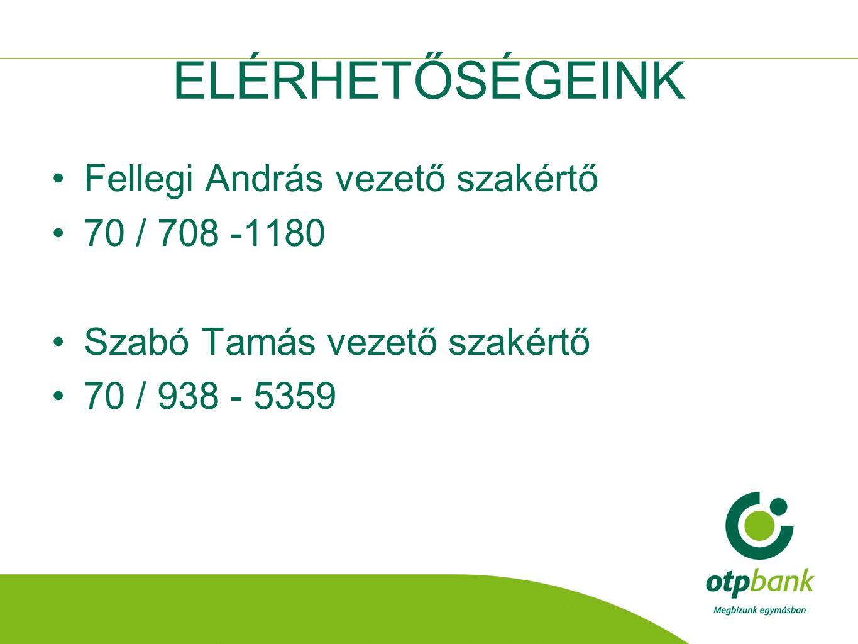 ELÉRHETŐSÉGEINK Fellegi András vezető szakértő 70 / 708 -1180 Szabó Tamás vezető szakértő 70 / 938 - 5359