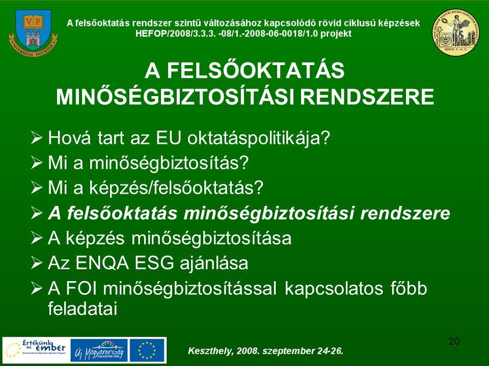 20 A FELSŐOKTATÁS MINŐSÉGBIZTOSÍTÁSI RENDSZERE  Hová tart az EU oktatáspolitikája?  Mi a minőségbiztosítás?  Mi a képzés/felsőoktatás?  A felsőokt