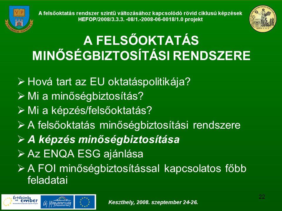 22 A FELSŐOKTATÁS MINŐSÉGBIZTOSÍTÁSI RENDSZERE  Hová tart az EU oktatáspolitikája?  Mi a minőségbiztosítás?  Mi a képzés/felsőoktatás?  A felsőokt