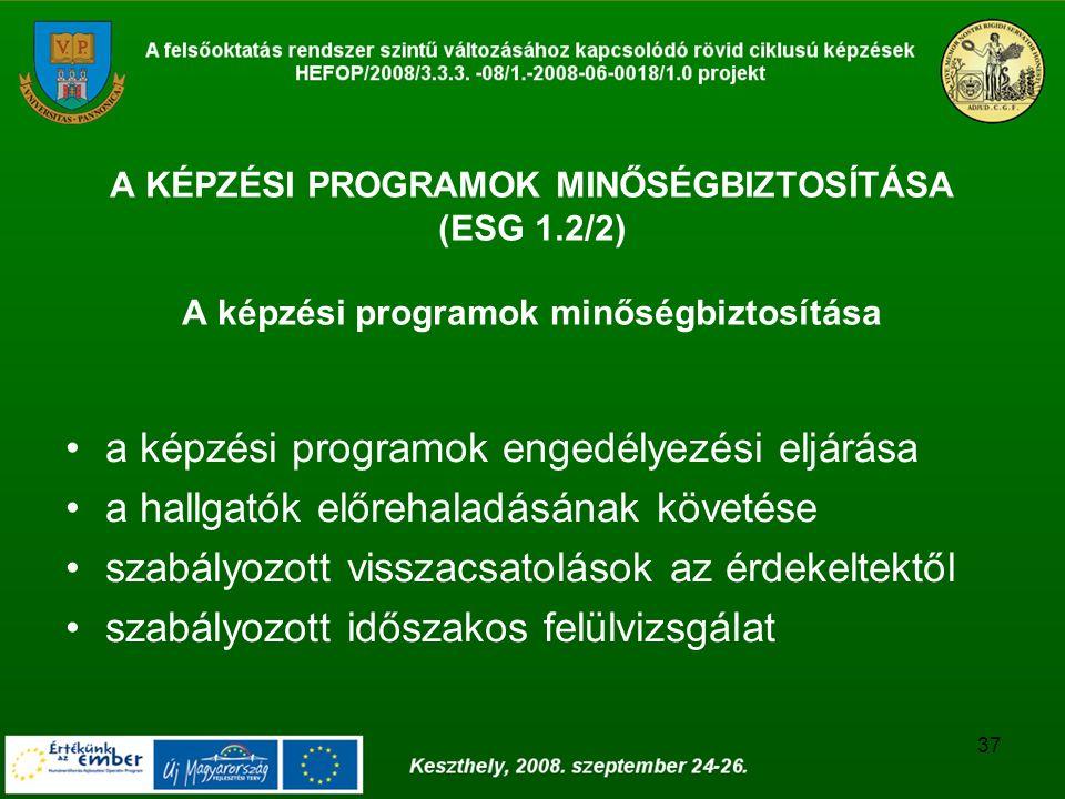37 A KÉPZÉSI PROGRAMOK MINŐSÉGBIZTOSÍTÁSA (ESG 1.2/2) A képzési programok minőségbiztosítása a képzési programok engedélyezési eljárása a hallgatók el