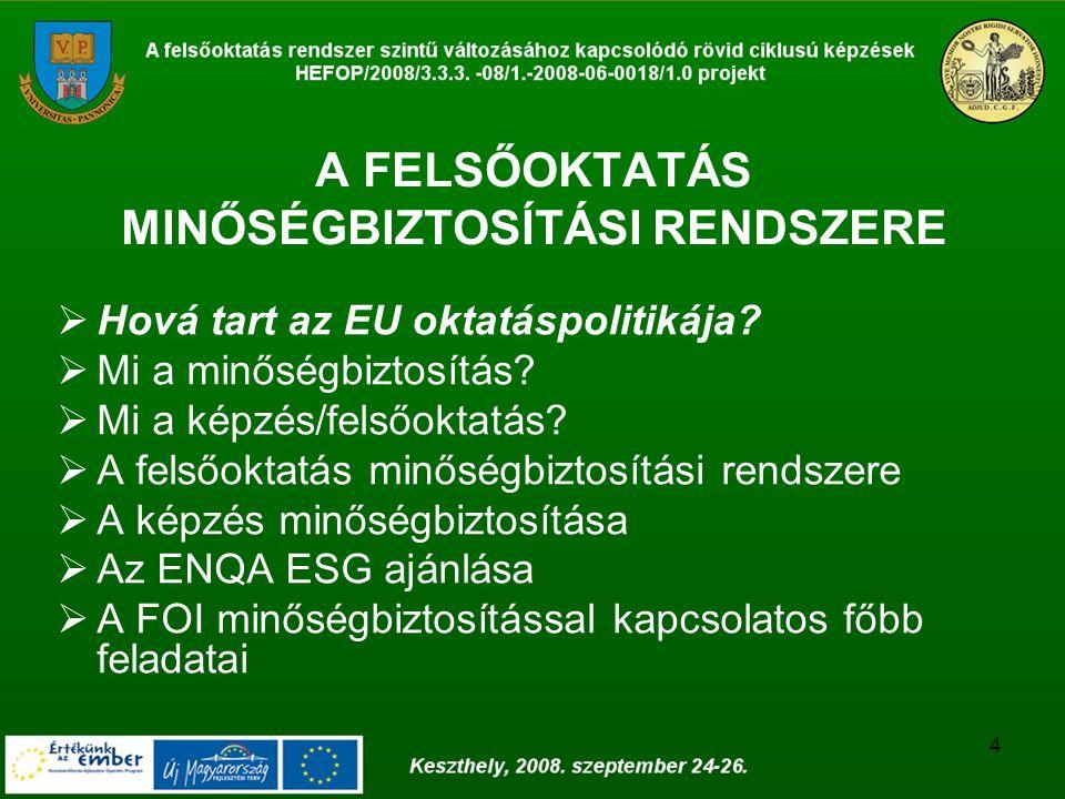 4 A FELSŐOKTATÁS MINŐSÉGBIZTOSÍTÁSI RENDSZERE  Hová tart az EU oktatáspolitikája?  Mi a minőségbiztosítás?  Mi a képzés/felsőoktatás?  A felsőokta