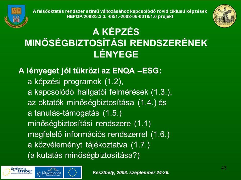 43 A KÉPZÉS MINŐSÉGBIZTOSÍTÁSI RENDSZERÉNEK LÉNYEGE A lényeget jól tükrözi az ENQA –ESG: a képzési programok (1.2), a kapcsolódó hallgatói felmérések (1.3.), az oktatók minőségbiztosítása (1.4.) és a tanulás-támogatás (1.5.) minőségbiztosítási rendszere (1.1) megfelelő információs rendszerrel (1.6.) a közvéleményt tájékoztatva (1.7.) (a kutatás minőségbiztosítása )
