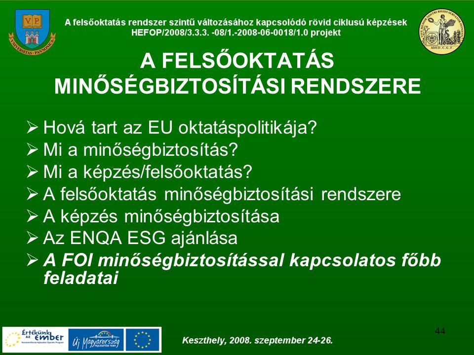 44 A FELSŐOKTATÁS MINŐSÉGBIZTOSÍTÁSI RENDSZERE  Hová tart az EU oktatáspolitikája.