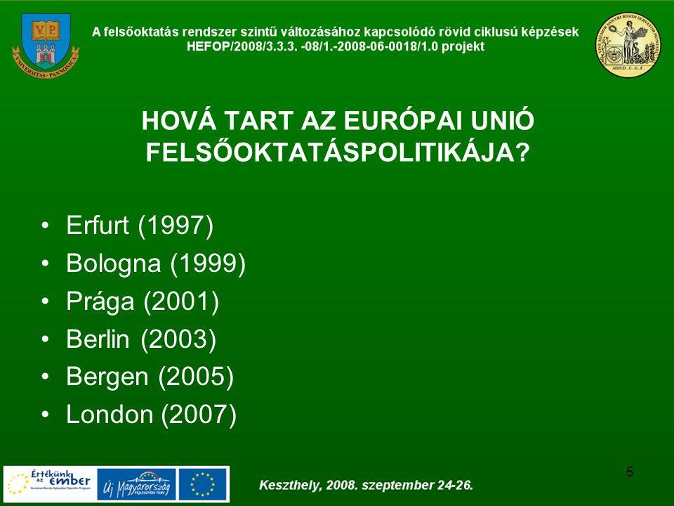 5 HOVÁ TART AZ EURÓPAI UNIÓ FELSŐOKTATÁSPOLITIKÁJA? Erfurt (1997) Bologna (1999) Prága (2001) Berlin (2003) Bergen (2005) London (2007)