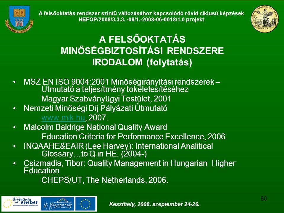 50 A FELSŐOKTATÁS MINŐSÉGBIZTOSÍTÁSI RENDSZERE IRODALOM (folytatás) MSZ EN ISO 9004:2001 Minőségirányítási rendszerek – Útmutató a teljesítmény tökéletesítéséhez Magyar Szabványügyi Testület, 2001 Nemzeti Minőségi Díj Pályázati Útmutató www.mik.huwww.mik.hu, 2007.