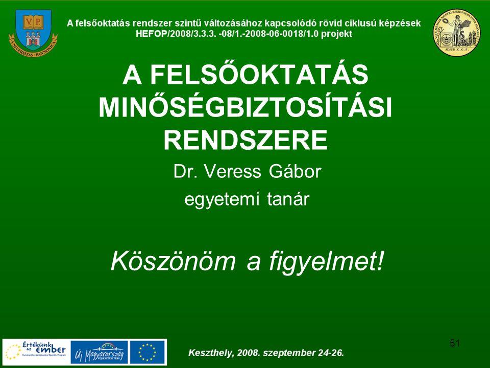51 A FELSŐOKTATÁS MINŐSÉGBIZTOSÍTÁSI RENDSZERE Dr. Veress Gábor egyetemi tanár Köszönöm a figyelmet!