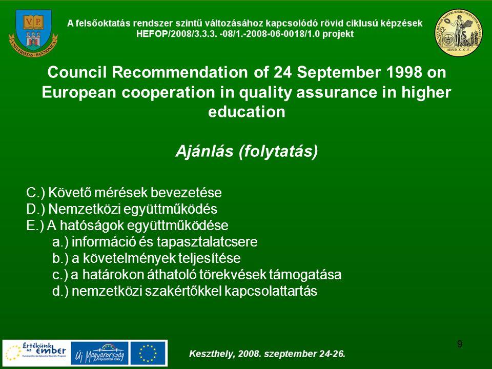 9 Council Recommendation of 24 September 1998 on European cooperation in quality assurance in higher education Ajánlás (folytatás) C.) Követő mérések bevezetése D.) Nemzetközi együttműködés E.) A hatóságok együttműködése a.) információ és tapasztalatcsere b.) a követelmények teljesítése c.) a határokon áthatoló törekvések támogatása d.) nemzetközi szakértőkkel kapcsolattartás