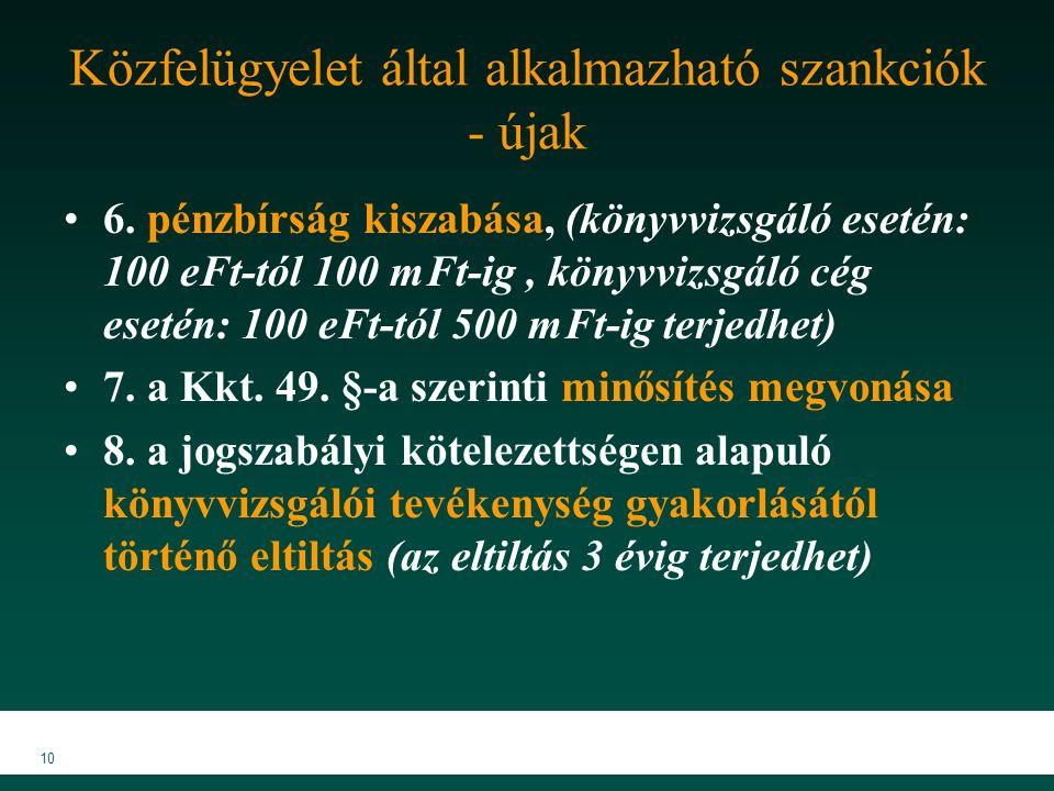 Közfelügyelet által alkalmazható szankciók - újak 6.