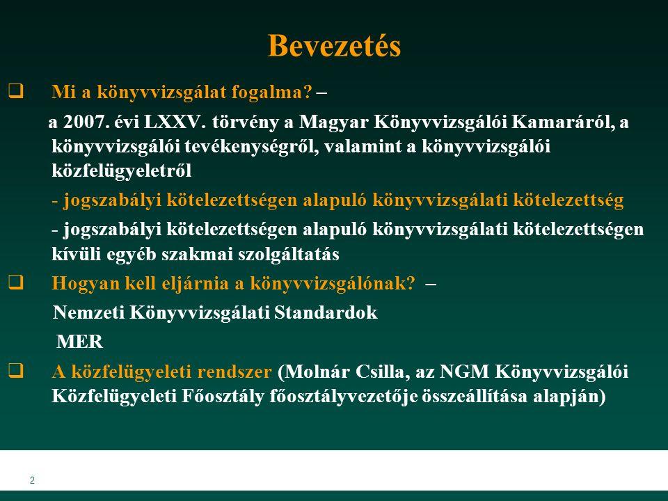 2 Bevezetés  Mi a könyvvizsgálat fogalma. – a 2007.