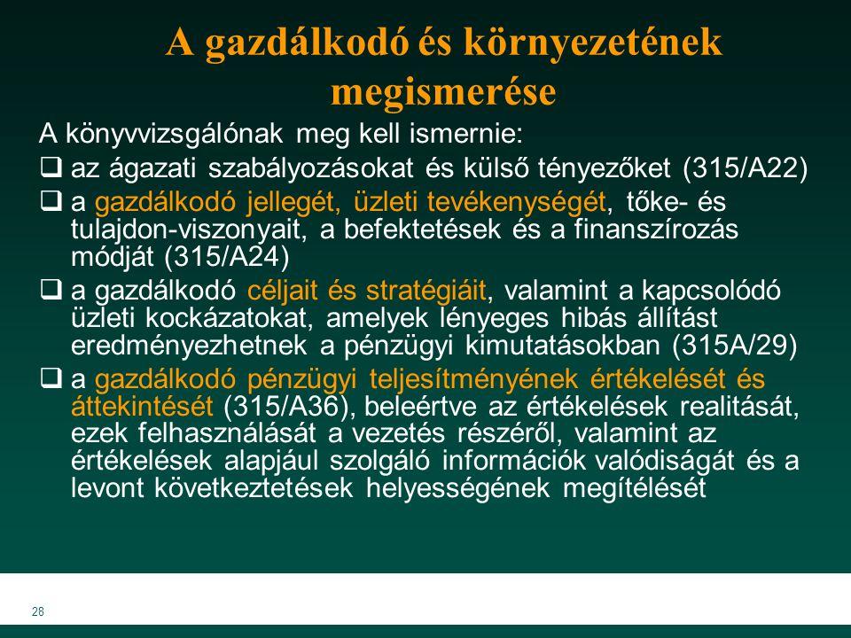 MKVK MEB 2007 28 A gazdálkodó és környezetének megismerése A könyvvizsgálónak meg kell ismernie:  az ágazati szabályozásokat és külső tényezőket (315/A22)  a gazdálkodó jellegét, üzleti tevékenységét, tőke- és tulajdon-viszonyait, a befektetések és a finanszírozás módját (315/A24)  a gazdálkodó céljait és stratégiáit, valamint a kapcsolódó üzleti kockázatokat, amelyek lényeges hibás állítást eredményezhetnek a pénzügyi kimutatásokban (315A/29)  a gazdálkodó pénzügyi teljesítményének értékelését és áttekintését (315/A36), beleértve az értékelések realitását, ezek felhasználását a vezetés részéről, valamint az értékelések alapjául szolgáló információk valódiságát és a levont következtetések helyességének megítélését