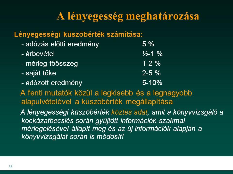 MKVK MEB 2007 38 A lényegesség meghatározása Lényegességi küszöbérték számítása: - adózás előtti eredmény5 % - árbevétel½-1 % - mérleg főösszeg1-2 % - saját tőke2-5 % - adózott eredmény5-10% A fenti mutatók közül a legkisebb és a legnagyobb alapulvételével a küszöbérték megállapítása A lényegességi küszöbérték köztes adat, amit a könyvvizsgáló a kockázatbecslés során gyűjtött információk szakmai mérlegelésével állapít meg és az új információk alapján a könyvvizsgálat során is módosít!