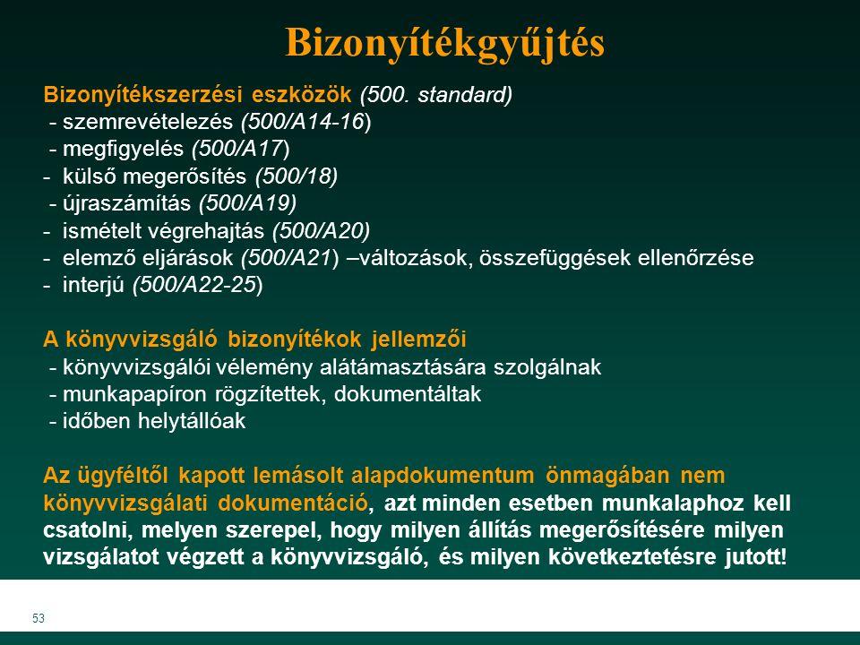 MKVK MEB 2007 53 Bizonyítékgyűjtés Bizonyítékszerzési eszközök (500.
