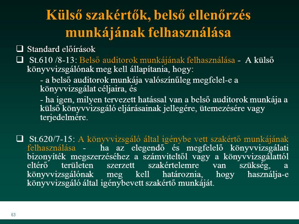 MKVK MEB 2007 63 Külső szakértők, belső ellenőrzés munkájának felhasználása  Standard előírások  St.610 /8-13: Belső auditorok munkájának felhasználása - A külső könyvvizsgálónak meg kell állapítania, hogy: - a belső auditorok munkája valószínűleg megfelel-e a könyvvizsgálat céljaira, és - ha igen, milyen tervezett hatással van a belső auditorok munkája a külső könyvvizsgáló eljárásainak jellegére, ütemezésére vagy terjedelmére.