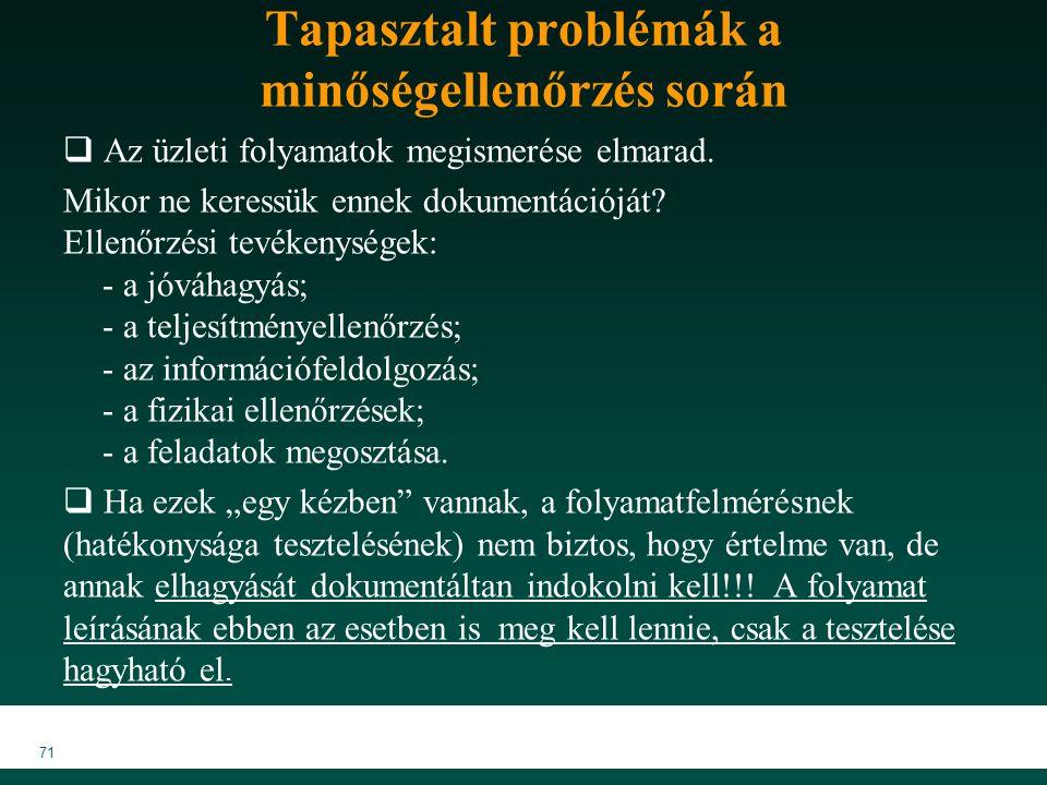 71 Tapasztalt problémák a minőségellenőrzés során  Az üzleti folyamatok megismerése elmarad.