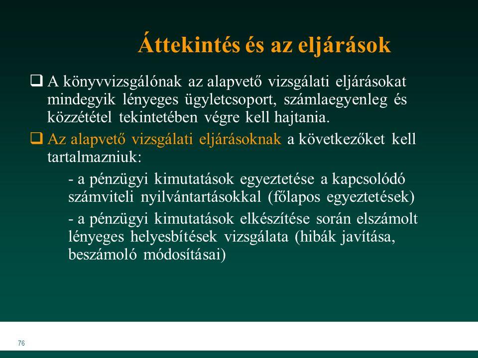 MKVK MEB 2007 76 Áttekintés és az eljárások  A könyvvizsgálónak az alapvető vizsgálati eljárásokat mindegyik lényeges ügyletcsoport, számlaegyenleg és közzététel tekintetében végre kell hajtania.