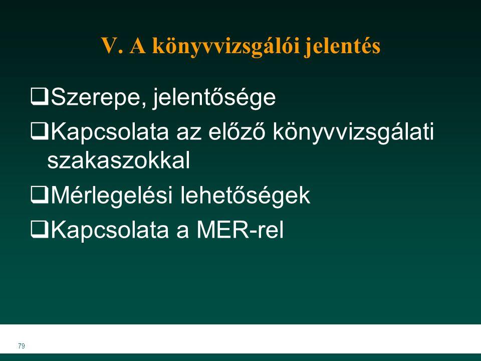 V. A könyvvizsgálói jelentés  Szerepe, jelentősége  Kapcsolata az előző könyvvizsgálati szakaszokkal  Mérlegelési lehetőségek  Kapcsolata a MER-re