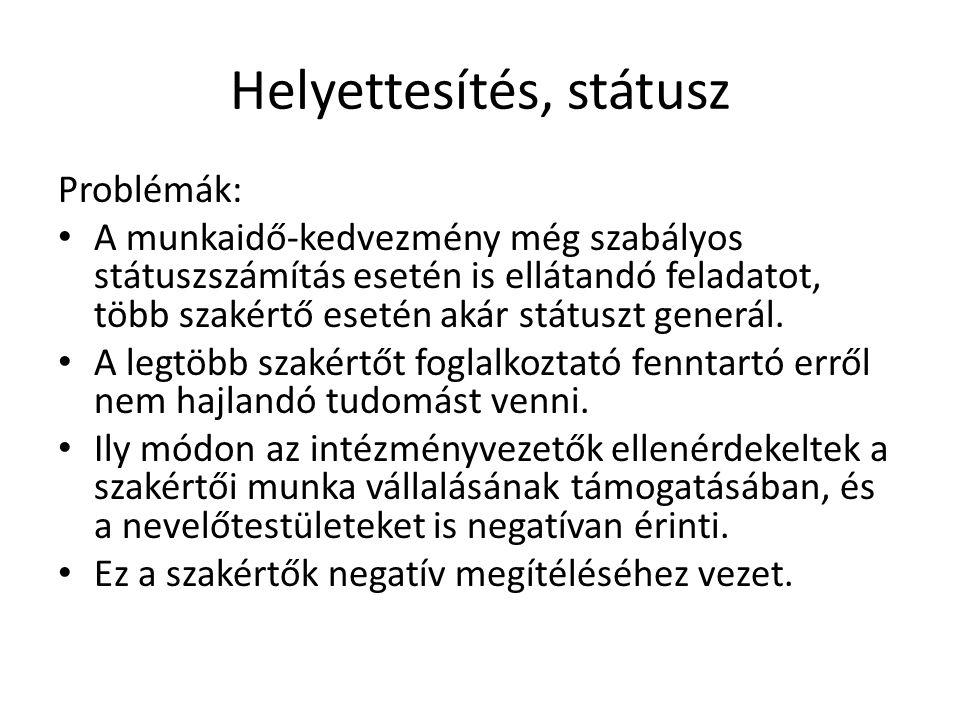 Helyettesítés, státusz Megoldási javaslat: A 326/2013 Korm.