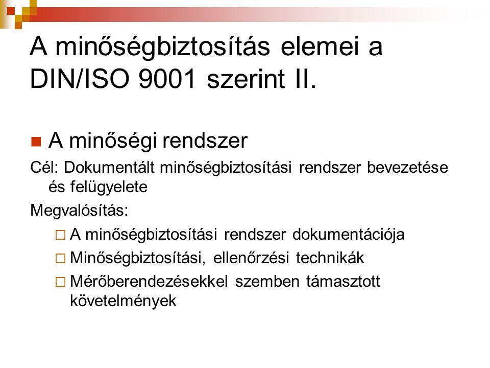 A minőségbiztosítás elemei a DIN/ISO 9001 szerint II. A minőségi rendszer Cél: Dokumentált minőségbiztosítási rendszer bevezetése és felügyelete Megva