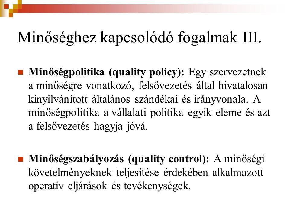 Minőséghez kapcsolódó fogalmak III. Minőségpolitika (quality policy): Egy szervezetnek a minőségre vonatkozó, felsővezetés által hivatalosan kinyilván
