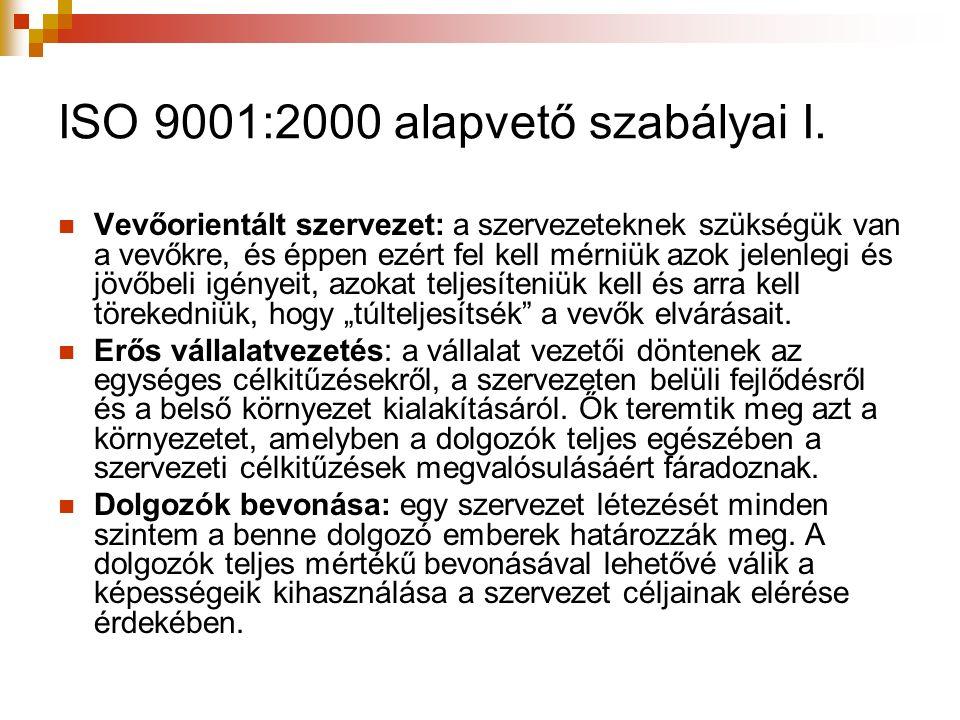 ISO 9001:2000 alapvető szabályai I. Vevőorientált szervezet: a szervezeteknek szükségük van a vevőkre, és éppen ezért fel kell mérniük azok jelenlegi