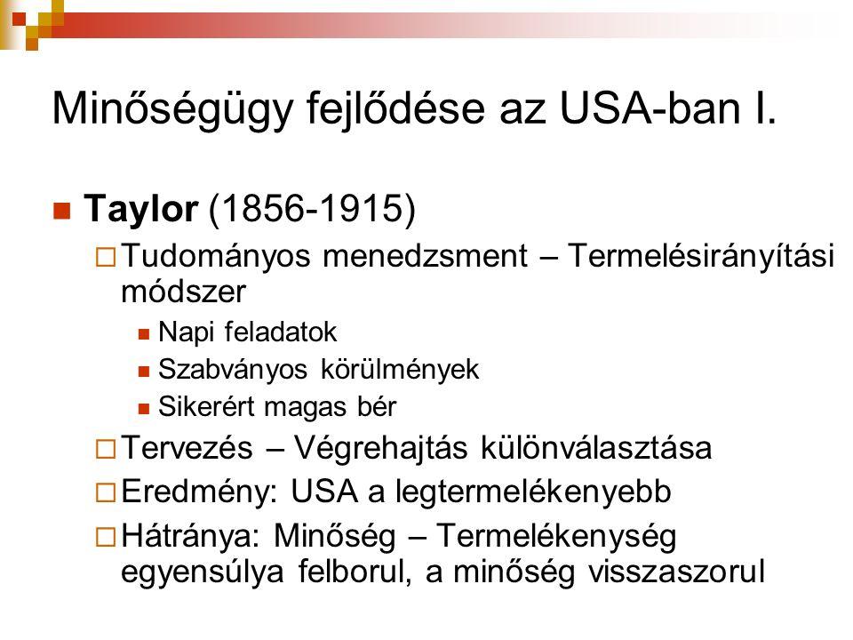 Minőségügy fejlődése az USA-ban I. Taylor (1856-1915)  Tudományos menedzsment – Termelésirányítási módszer Napi feladatok Szabványos körülmények Sike