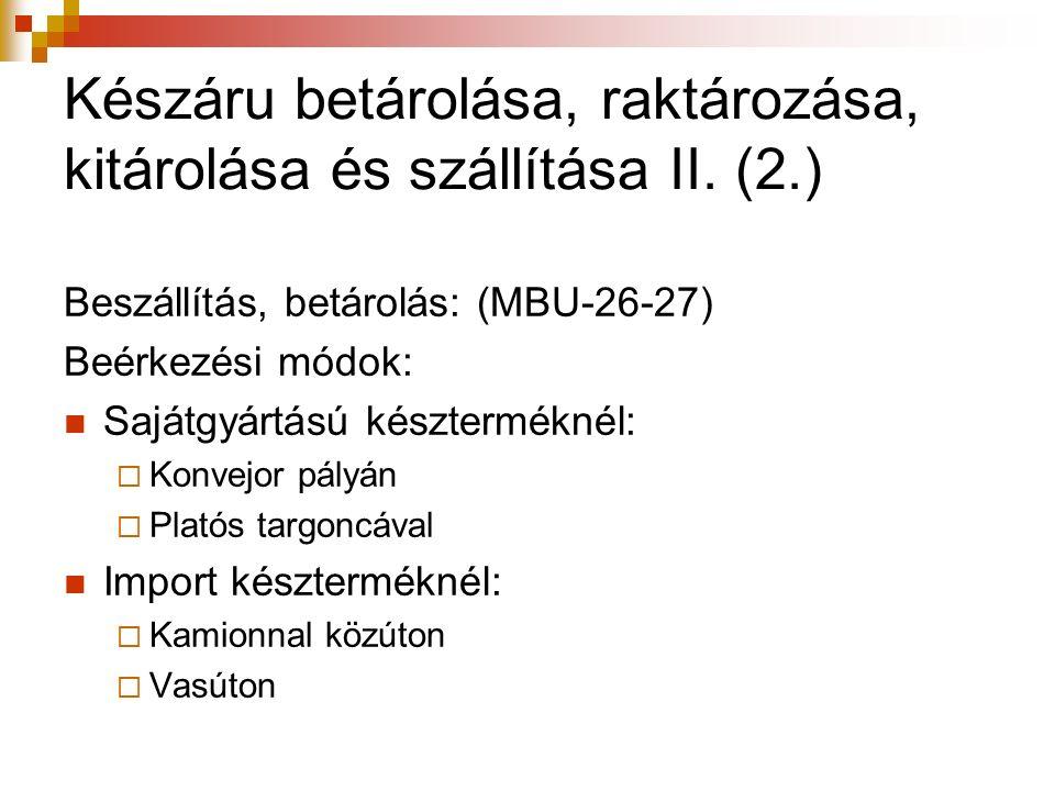 Készáru betárolása, raktározása, kitárolása és szállítása II. (2.) Beszállítás, betárolás: (MBU-26-27) Beérkezési módok: Sajátgyártású készterméknél: