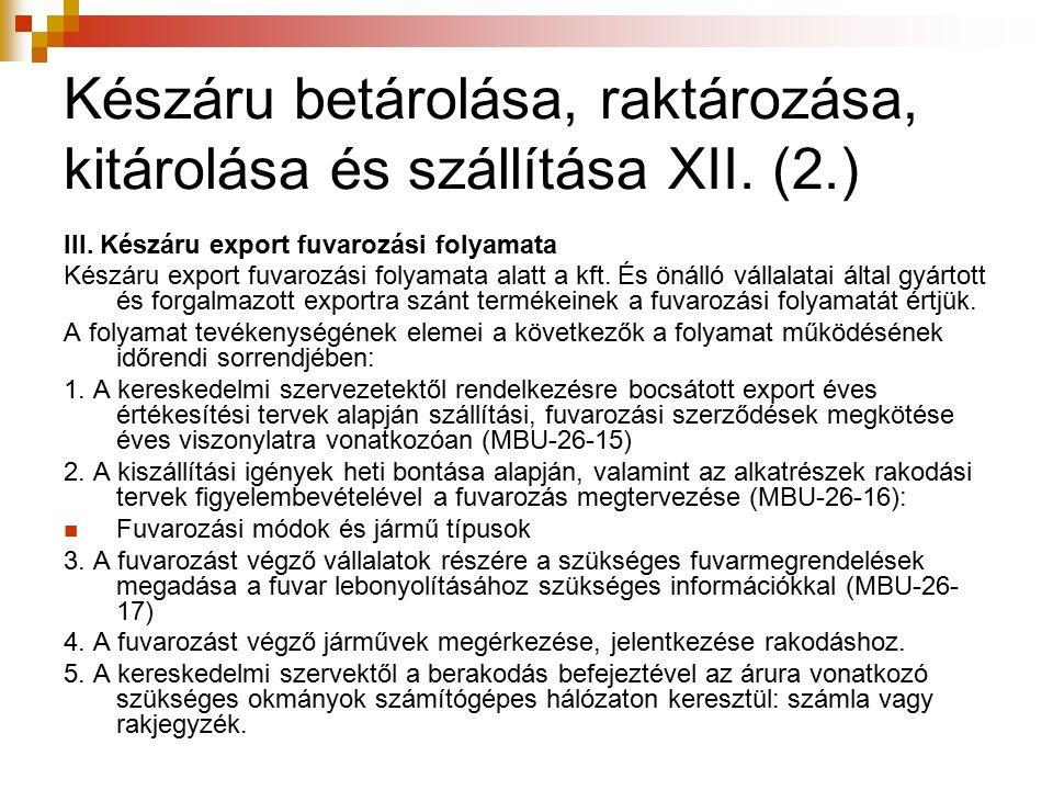 Készáru betárolása, raktározása, kitárolása és szállítása XII. (2.) III. Készáru export fuvarozási folyamata Készáru export fuvarozási folyamata alatt