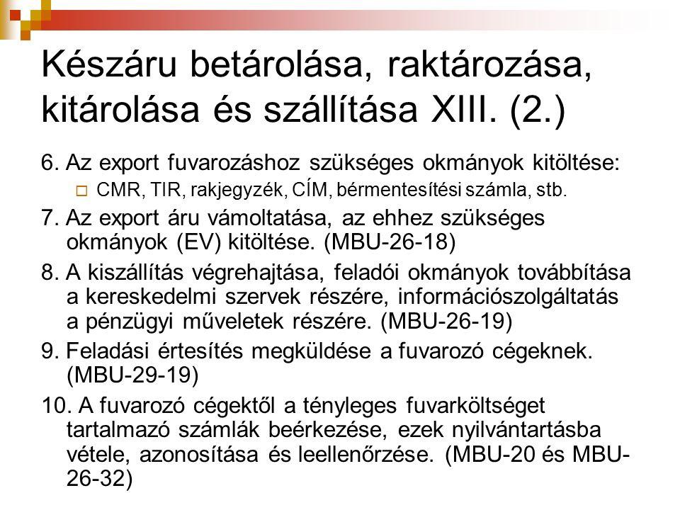 Készáru betárolása, raktározása, kitárolása és szállítása XIII. (2.) 6. Az export fuvarozáshoz szükséges okmányok kitöltése:  CMR, TIR, rakjegyzék, C