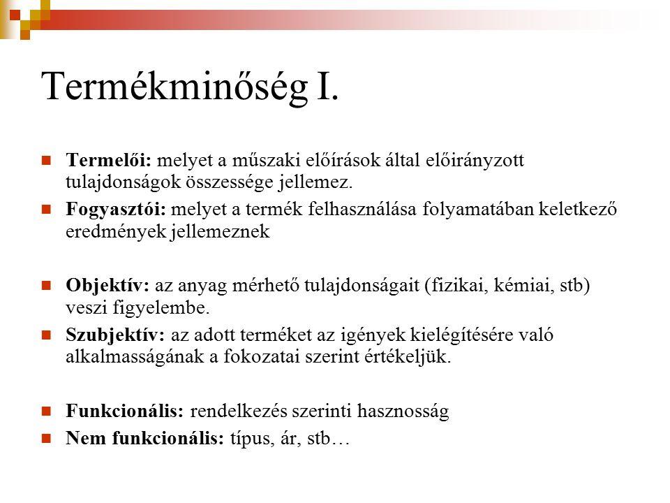 Termékminőség II.