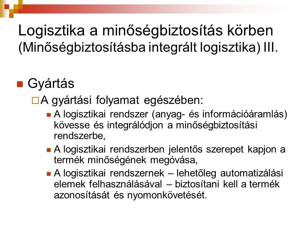 Logisztika a minőségbiztosítás körben (Minőségbiztosításba integrált logisztika) III. Gyártás  A gyártási folyamat egészében: A logisztikai rendszer