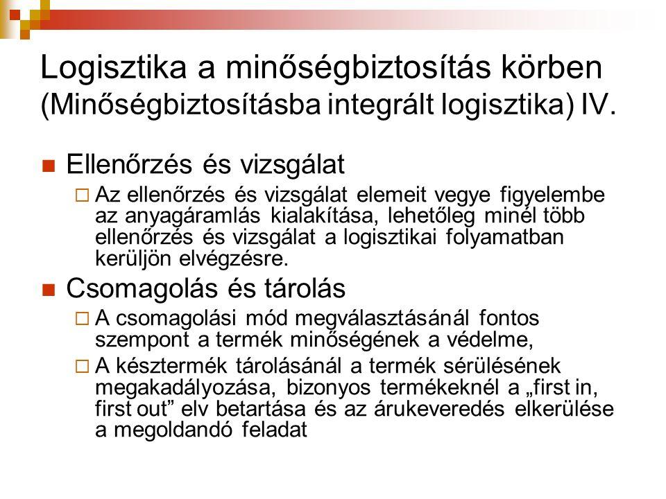 Logisztika a minőségbiztosítás körben (Minőségbiztosításba integrált logisztika) IV. Ellenőrzés és vizsgálat  Az ellenőrzés és vizsgálat elemeit vegy