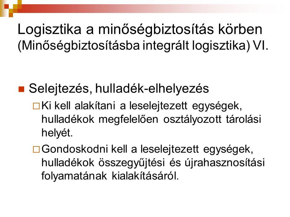 Logisztika a minőségbiztosítás körben (Minőségbiztosításba integrált logisztika) VI.