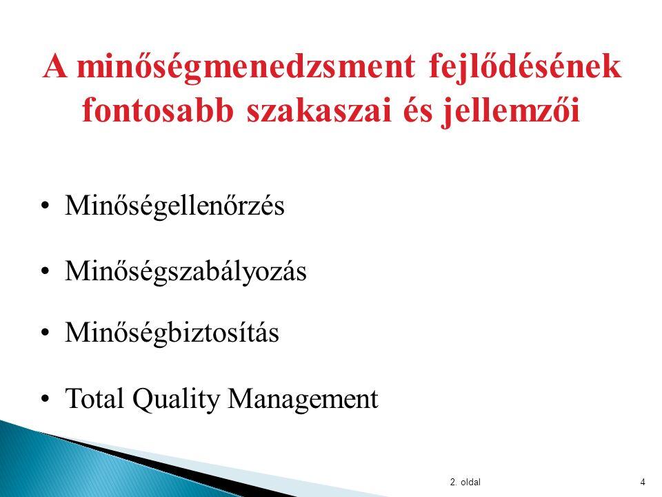 4 A minőségmenedzsment fejlődésének fontosabb szakaszai és jellemzői Minőségellenőrzés Minőségszabályozás Total Quality Management Minőségbiztosítás