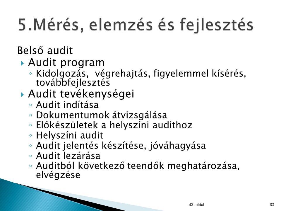 Belső audit:  Auditor kiválasztás ◦ Személyi tulajdonságok ◦ Etikus magatartás ◦ Valósághű beszámolás ◦ Szakmai hozzáértés ◦ Függetlenség ◦ Bizonyítékokon alapuló megközelítés  Auditor felkészültsége ◦ Végzettség ◦ Munkatapasztalat ◦ Auditori képzettség és gyakorlat 43.