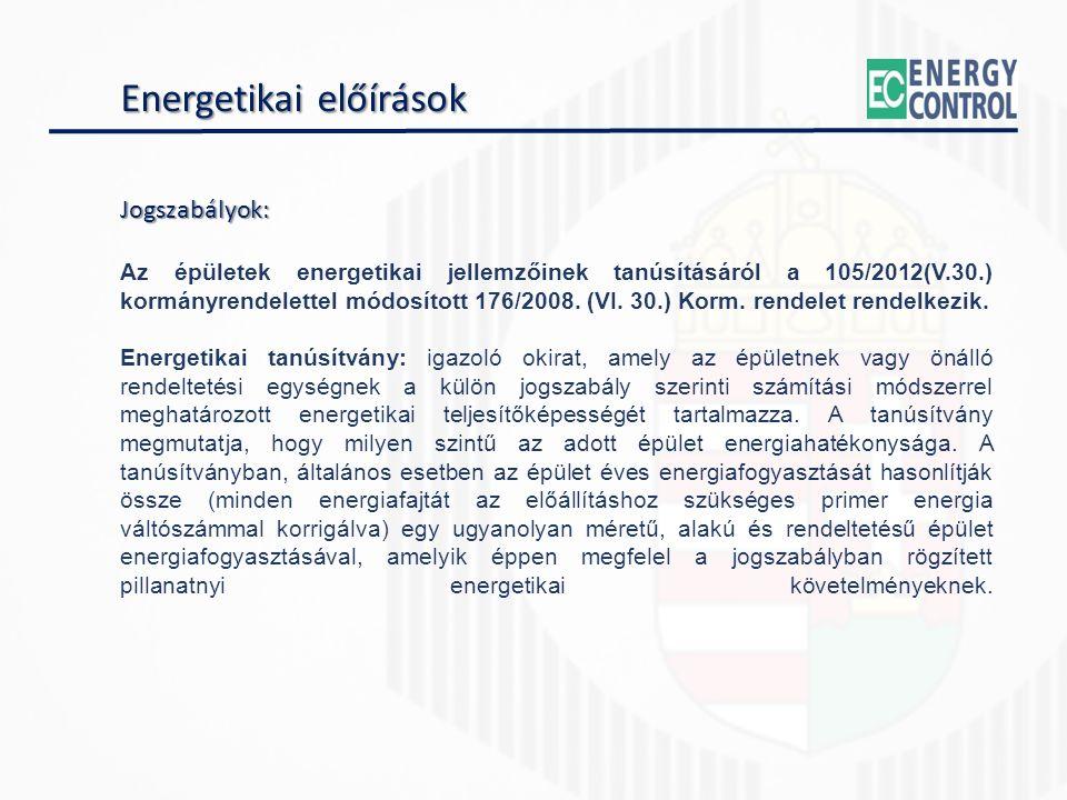 Energetikai előírások Jogszabályok: Az épületek energetikai jellemzőinek tanúsításáról a 105/2012(V.30.) kormányrendelettel módosított 176/2008.