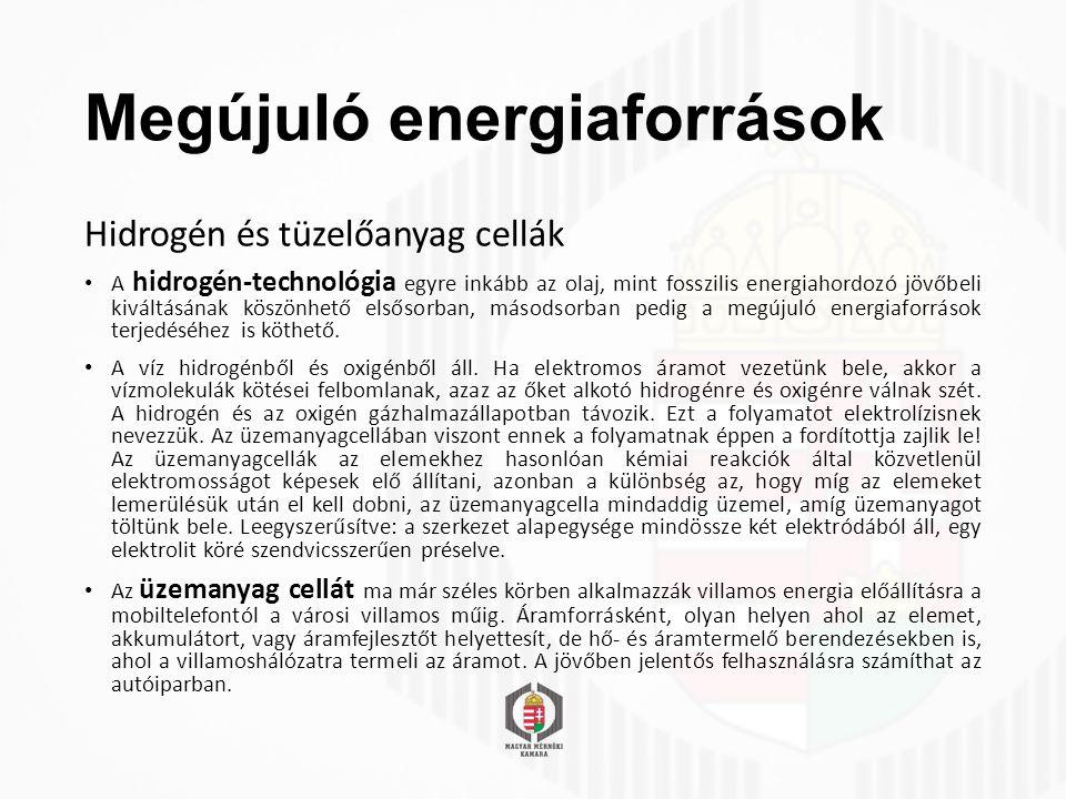 Megújuló energiaforrások Hidrogén és tüzelőanyag cellák A hidrogén-technológia egyre inkább az olaj, mint fosszilis energiahordozó jövőbeli kiváltásának köszönhető elsősorban, másodsorban pedig a megújuló energiaforrások terjedéséhez is köthető.