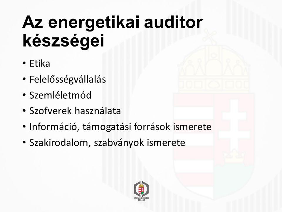 Az energetikai auditor készségei Etika Felelősségvállalás Szemléletmód Szofverek használata Információ, támogatási források ismerete Szakirodalom, szabványok ismerete