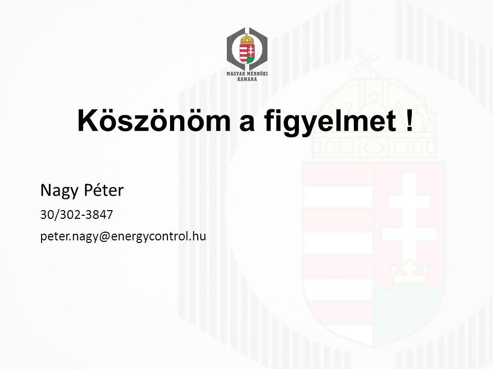 Köszönöm a figyelmet ! Nagy Péter 30/302-3847 peter.nagy@energycontrol.hu